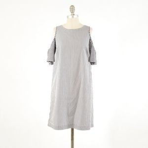 LOFT Dresses - LOFT Mixed Stripe Cold Shoulder Shift Dress